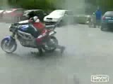 Motorbike burnout BIG FAIL