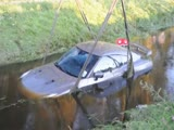 Nissan GT-R that crashed into water