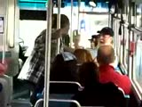 Old man fights young guy on the bus
