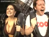 Hot girl with big boobs rides the rollercoaster