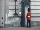 Buckingham Palace Royal Guard Points gun at crowd